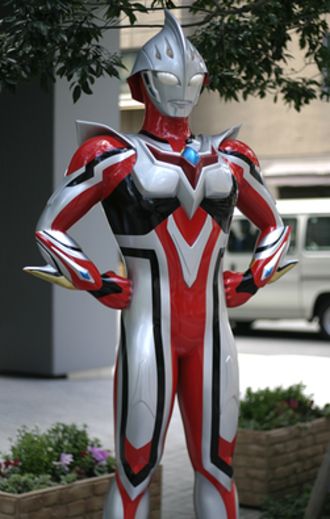 Ultra Series - Ultraman Nexus Junis statue outside Bandai HQ in Tokyo