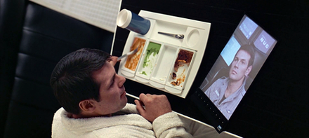 A scene where a wireless tablet device is portrayed in the movie 2001: A Space Odyssey (1968) - 2001: A Space Odyssey (film)