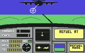 Ace (video game) - A screenshot of the game showing the player performing aerial refueling using boom and receptacle system.