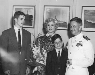 John S. McCain Jr. - Right-to-left: John S. McCain Jr. in 1951, with his son Joe, his wife Roberta, and son John S. McCain III.