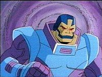 Apocalyse shown in his light blue and violet armor and standing in front of a purple vortex.