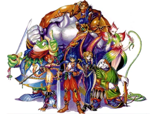 Breath of Fire II - The main characters of Breath of Fire II. From left to right, back row to front row: Rand, Sten, Jean, Katt, Ryu, Nina, Bow, and Spar. Not shown: Bleu.