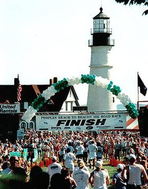 Beach to Beacon 10K - The finish line of the race with Portland Headlight in the background.