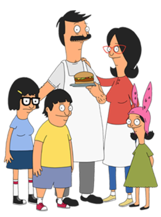 Bob's Burgers - The Belcher family. From left to right: Tina, Gene, Bob, Linda, and Louise Belcher.