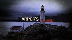 "The words ""Harper's Island"" are separated by a lighthouse. The word Harper's is white, Island is blood red."