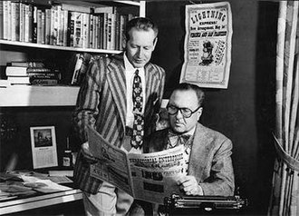 Lucius Beebe - Lucius Beebe (r), with Charles Clegg at their home office while publishing the Territorial Enterprise newspaper, Virginia City, Nevada.