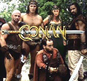 Conan the Adventurer (1997 TV series) - Conan: The Adventurer title screen, featuring (left to right, back to front) the characters Zzeban, Conan, Karella, Bayu, and Otli