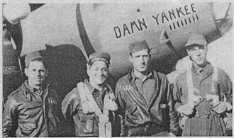 Bruce Sundlun - Four of ten crew members of B-17F Damn Yankee. L-R. Top turret gunner, Sgt. William Ramsey; waist gunner, Sgt. Michael J. Cappelletti; bombardier, Sgt. George Hayes; and pilot, Lt. Bruce Sundlun in October 1943