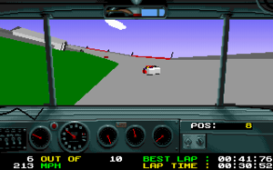 Days of Thunder (video game) - During-game image. Note cracked dashboard.