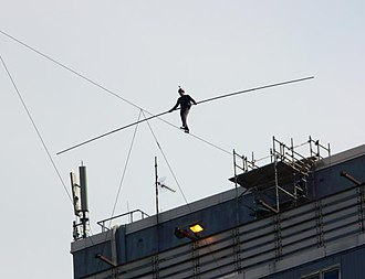 Didier Pasquette - Didier Pasquette's high wire walk in Glasgow, July 22, 2007.  Photographer: Grant Gibson