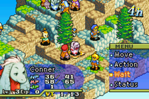 Final Fantasy Tactics Advance - A screenshot of an early battle in Final Fantasy Tactics Advance