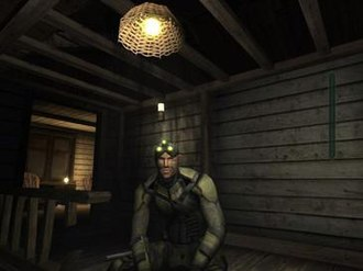 Tom Clancy's Splinter Cell: Pandora Tomorrow - Sam Fisher the protagonist in a camouflage suit, during a mission in Pandora Tomorrow.