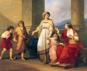 History of the Roman Constitution - Cornelia, mother of the future Gracchi tribunes, pointing to her children as her treasures