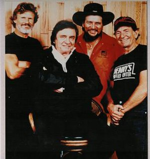 The Highwaymen (country supergroup) - From left to right Kris Kristofferson, Johnny Cash, Waylon Jennings, and Willie Nelson, who formed the country music supergroup