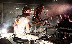 JEFF the Brotherhood - JEFF the brotherhood performing in Iowa City, IA in 2013. (L-R: Jamin and Jake Orrall)