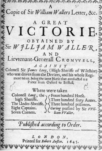 Sir James Long, 2nd Baronet - Waller's Declaration of Victory