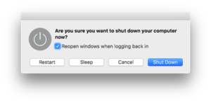 Shutdown (computing) - macOS power management dialog box