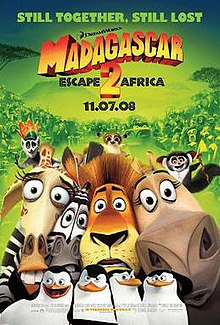 Theatrical release poster showing close-ups of Alex, Marty, Gloria and Melman, with King Juilen, Maurice and Mort on top of their heads, and below are the penguins, all on the foreground. The background is a group of animals behind them.