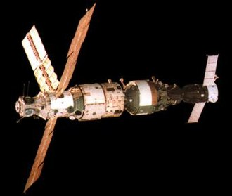 Mir Core Module - DOS-7 seen in 1987 following the addition of a third solar array and ''Kvant''-1.
