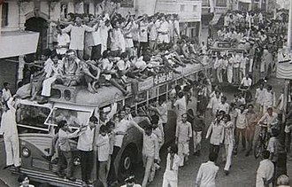 Navnirman Andolan - Protestors stopped and climbed AMTS buses in Ahmedabad during the movement.