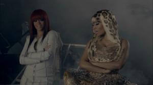 Fly (Nicki Minaj song) - A scene from the video with Rihanna (left) and Nicki Minaj (right)