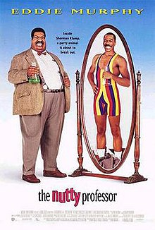 A fat man in a tweed suit, reflected in the mirror is a skinny man in a skintight leotard