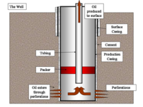 An oil well consists of pipe cemented into a drilled hole through which hydrocarbons can be produced.
