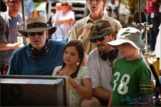 Letters to God - David Nixon (far left) and Pat Doughtie with young actors Tanner Maguire and Bailee Madison on the set.