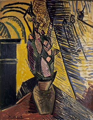 Picasso's African Period - Image: Pablo Picasso, 1907 08, Vase of Flowers, oil on canvas, 92.1 x 73 cm, Museum of Modern Art