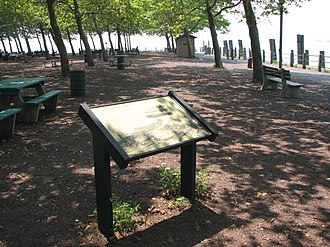 Hudson River Waterfront Walkway - Plaque marking site of the Black Tom explosion