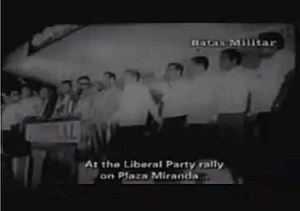 Plaza Miranda bombing - A still from a documentary showing Liberal Party members onstage at the Plaza Miranda, moments before the bombing.