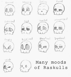 Raskulls - Developers designed various expressions to depict emotions on the Raskulls.