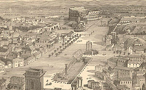 Papal States under Pope Pius IX - A view of the pastoral setting in the centre of Rome showing the Coloseum and Foro Romano around 1870