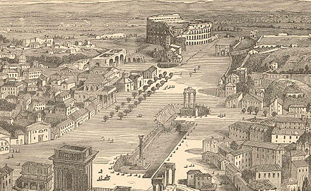 "A view of the centre of Rome showing the Coloseum and Roman Forum around 1870. Almost rural in character, it was known as the ""Campo Vaccino"" or ""cattle field"" Romapio9col.jpg"