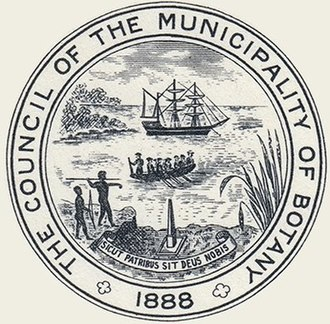 """City of Botany Bay - Seal of the Municipality of Botany, from 1938 Jubilee History, depicts the landing of Captain James Cook at Botany Bay in 1770. The latin motto, Sicut Patribus Sit Deus Nobis, translates to """"God be with us as He was with our fathers""""."""