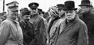 Edward Bernard Raczyński - From the left: Władysław Sikorski with General Marian Kukiel, Clementine, Winston Churchill and the Polish ambassador Count Edward Raczynski, 1940.