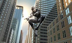 A shot of Spider-Man, now Black-Suited Spider-Man by the alien symbiote.