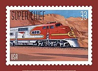 One of five All Aboard! 20th Century American Trains commemorative stamps issued by the United States Postal Service in August, 1999, this stamps honors the Super Chief but is not associated with any particular event or anniversary.