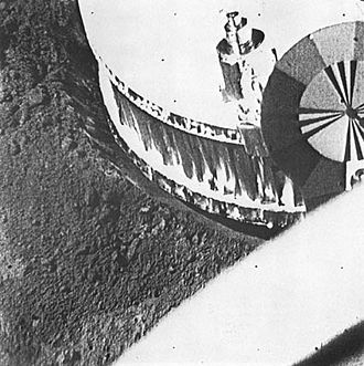 Surveyor 1 - Image from Surveyor 1 of its footpad in order to study soil mechanics in preparation for the Apollo manned landings.