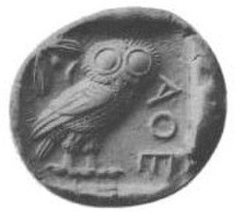 Movable type - Movable type traces its origins to the punches used to make coins: the reverse face of a Tetradrachm Greek coin from Athens, 5th century BC, featuring various letters and the owl symbol of Athena.