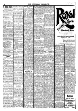 The American Israelite - March 29, 1900, page of The American Israelite that announced the death of Isaac Mayer Wise