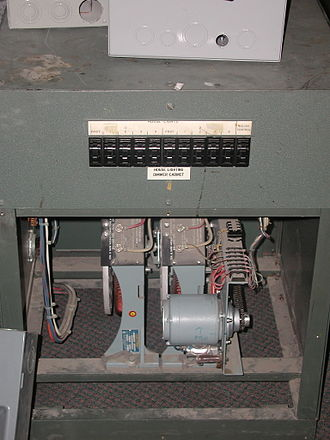 Dimmer - Two 6000 watt motor driven autotransformer dimmers, used for theatre auditorium lighting