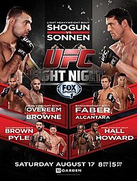 A poster or logo for UFC Fight Night: Shogun vs. Sonnen.
