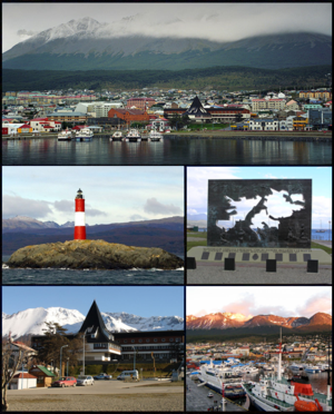 (From top to bottom; from left to right) View of Ushuaia from the harbor; Les Eclaireurs Lighthouse; Falklands War Memorial; Tierra del Fuego, Antártida e Islas del Atántico Sur government building and the port.