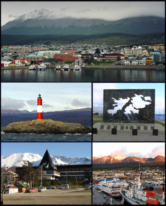 Ushuaia - (From top to bottom; from left to right) View of Ushuaia from the harbor; Les Eclaireurs Lighthouse; Falklands War Memorial; Tierra del Fuego, Antártida e Islas del Atántico Sur government building and the port.