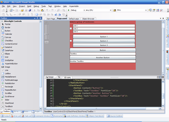 Microsoft Silverlight - A Silverlight application being edited in Microsoft Visual Studio.
