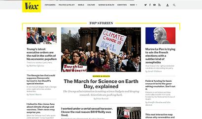 Vox homepage