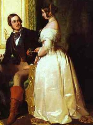 1840s in Western fashion - Queen Victoria and the Prince Consort at home, 1841. Her dress shows the fashionable silhouette, with its pointed waist, sloping shoulder, and bell-shaped skirt.