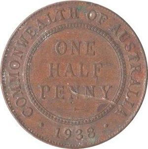 Halfpenny (Australian) - Image: Australia halfpenny 1938 reverse