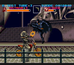 Batman Returns (video game) - One of the side-scrolling stages.